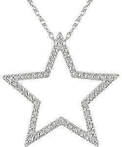 10k White Gold Diamond Accent Star Necklace