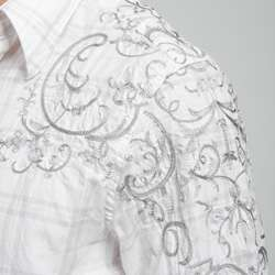 English Laundry Mens Embroidered Woven Shirt