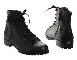 Womens sheepskin Lace Up side zipper Ankle Combat boots