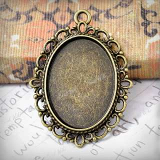 15 Antique Brass Vintage Style Oval Cameo Cabochon Settings Charm