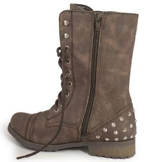 LADIES KHAKI STUD MILITARY ARMY COMBAT BOOTS SIZES 3 8