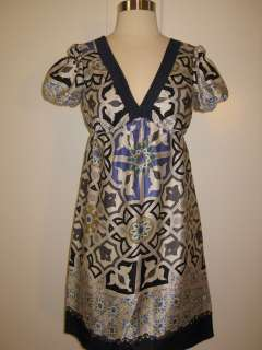 HALE BOB SIlk Geo Print Navy Blue V Neck Empire Dress   XS; MD