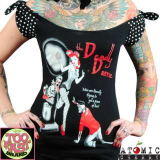 Dame Rockabilly Pin Up Punk Retro Zombie Tattoo Horror Top