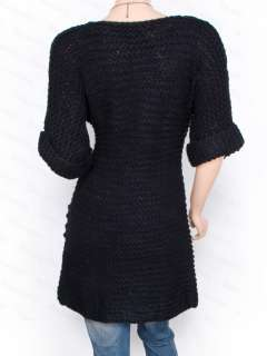 Funky Knit Short Sleeves 3 Buttons Cardigan Sweater