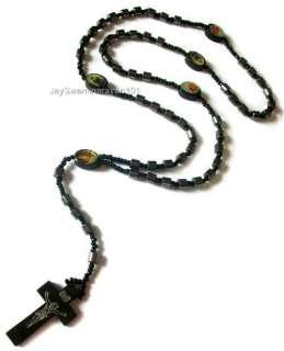 Black Hematite Bead Rosary Wooden Cross Necklace 30 BN
