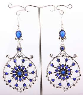 new Tibet Silver Swarovski clear Crystal women Dangle Earring size