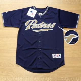 San Diego Padres Majestic SEWN Mens jersey LG Navy NWT