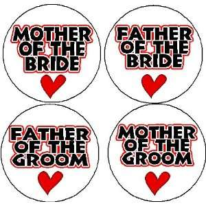 Set of 4 WEDDING PARTY MOTHER / FATHER of the BRIDE / GROOM (heart