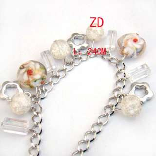 A0223 White Lampwork glass Crystal bead Flower Bracelet