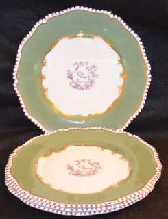 Royal Worcester Green & Gold Gilt Border Chinoiserie Plates