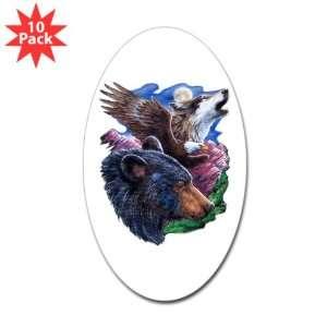 : Sticker (Oval) (10 Pack) Bear Bald Eagle and Wolf: Everything Else