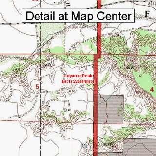 USGS Topographic Quadrangle Map   Cuyama Peak, California (Folded
