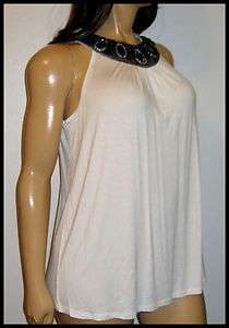 Womens Plus Size Top Dress Barn Beaded & Jeweled Neckline Off White