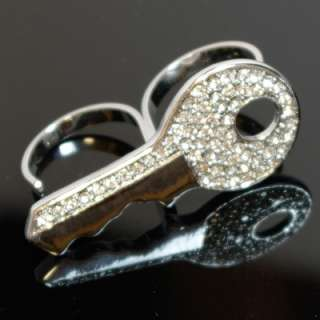 finger ring adjustable rings key Crystal clue new silver gold
