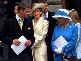 Prince William talking to his grand mother Queen Elizabeth II on the