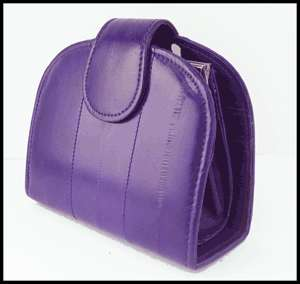 GENUINE EEL SKIN LEATHER WALLET with COIN PURSE Purple