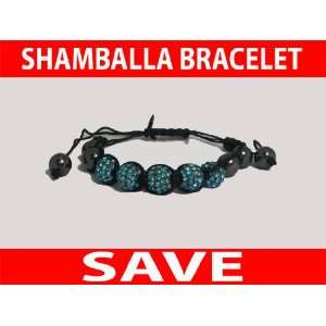 Light Blue Shamballa Bracelet Crystal 5 Metal Disco Ball