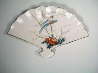 Jay Japan Fine China Fan Dish Plate Bird Flowers Marked
