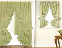NEW DOUBLE SWAG FABRIC SHOWER &WINDOW CURTAIN   GREEN