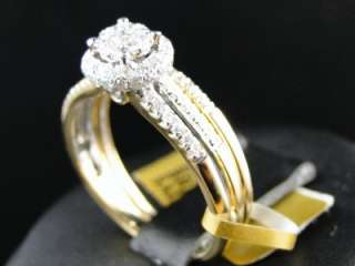 ROUND WHITE GOLD DIAMOND ENGAGEMENT BRIDAL WEDDING RING SET
