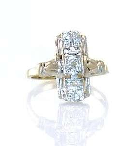 Diamond Deco Vintage 14K White Gold Antique Estate Jewelry Ring Old 8