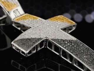 MENS WHITE GOLD BLACK DIAMOND CROSS PENDANT PAVE CHARM