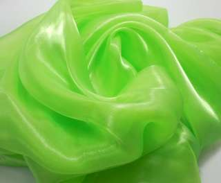 k39 Lime Green Mirror Organza Fabric Mesh Sheer by Yard