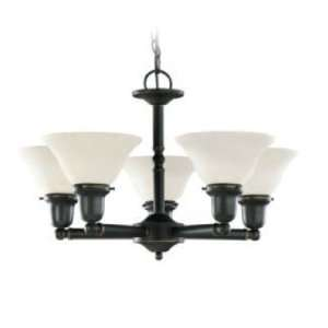 Five Light Chandelier, Heirloom Bronze Finish with Satin Etched Glass