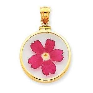14k Yellow Gold Pink Verbena Flower in Bezel Pendant