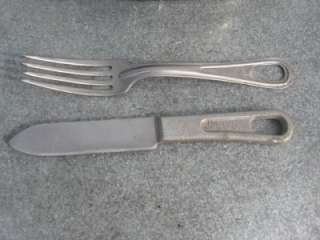 WWII MESS KIT CAN MEAT KNIFE FORK 1945 DATED WW2