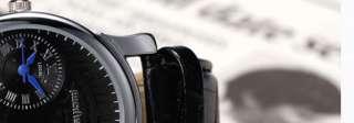 PACIFISTOR Quartz Mens Wrist Watch Dual Time Zone Gold Black / Brown