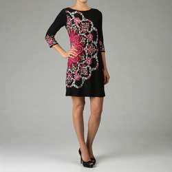 London Times Womens Black/ Coral Shift Dress