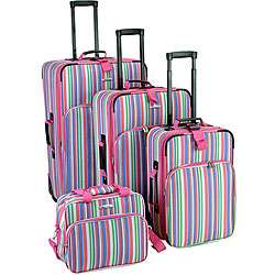 Rockland 4 piece Pink Stripe Expandable Luggage Set