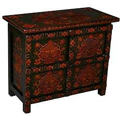 Tibetan Dark Green Hand painted Storage Cabinet