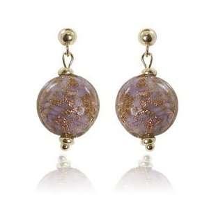 14K Yellow Gold Pink Murano Bead Earrings Katarina Jewelry