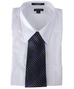 Prague Mens White Shirt & Tie Set   Stain Resistant