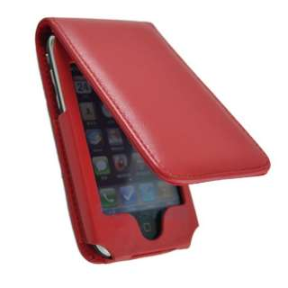 Red FLIP LEATHER CASE Skin COVER for IPHONE 2G 3G 3GS
