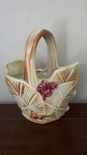 McCoy 1940s Berries and Leaves Basket Planter Vase