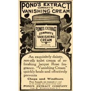 1910 Ad Ponds Extract Vanishing Cream Chaps Windburn   Original Print