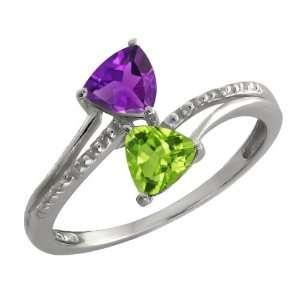 0.88 Ct Trillion Purple Amethyst and Green Peridot 14k