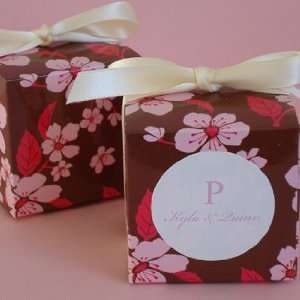 Brown and Pink Cherry Blossom Cube Favor Box Health