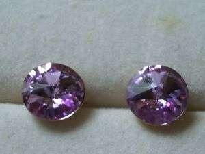 Amethyst Swarovski Crystal Earrings Large Studs 22K GP