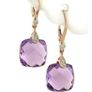 PURPLE AMETHYST & DIAMONDS DANGLE EARRINGS 14K ROSE PINK GOLD