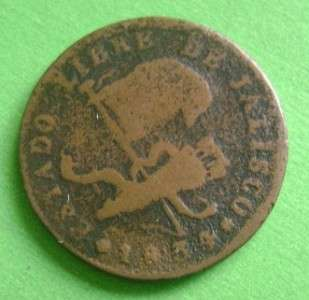 1834 MEXICO COPPER 1/4 real Mexican Coin Jalisco