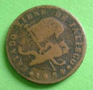 1834 MEXICO COPPER 1/4 real Mexican Coin Jalisco