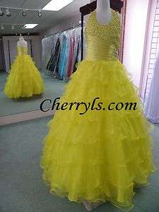 33409 Lemon Size 10 GIRLS NATIONAL PAGEANT DRESS WINNING GOWN