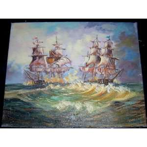 Decorative Small Oil Painting Two Sailing Ships Unframed