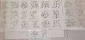 Rhinestone Iron On Transfer Old English Letter Outline
