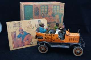 TAXI CAB W ORIGINAL BOX BLACK AMERICANA TIN WIND UP TOY RARE