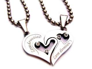 Stainless Steel Love Devotion HEART PUZZLE Necklace